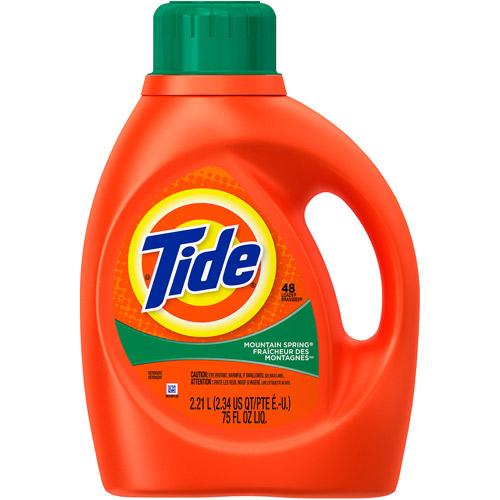 Tide Mountain Spring Scent Liquid Laundry Detergent, 48 Loads 75 oz