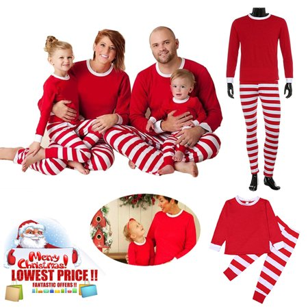 Spencer Family Christmas Pajamas Set Red Top and Striped Long Sleeve Pants Nightgown for Men Women Kids Sleepwear Set (Christmas Jammies Halloween)