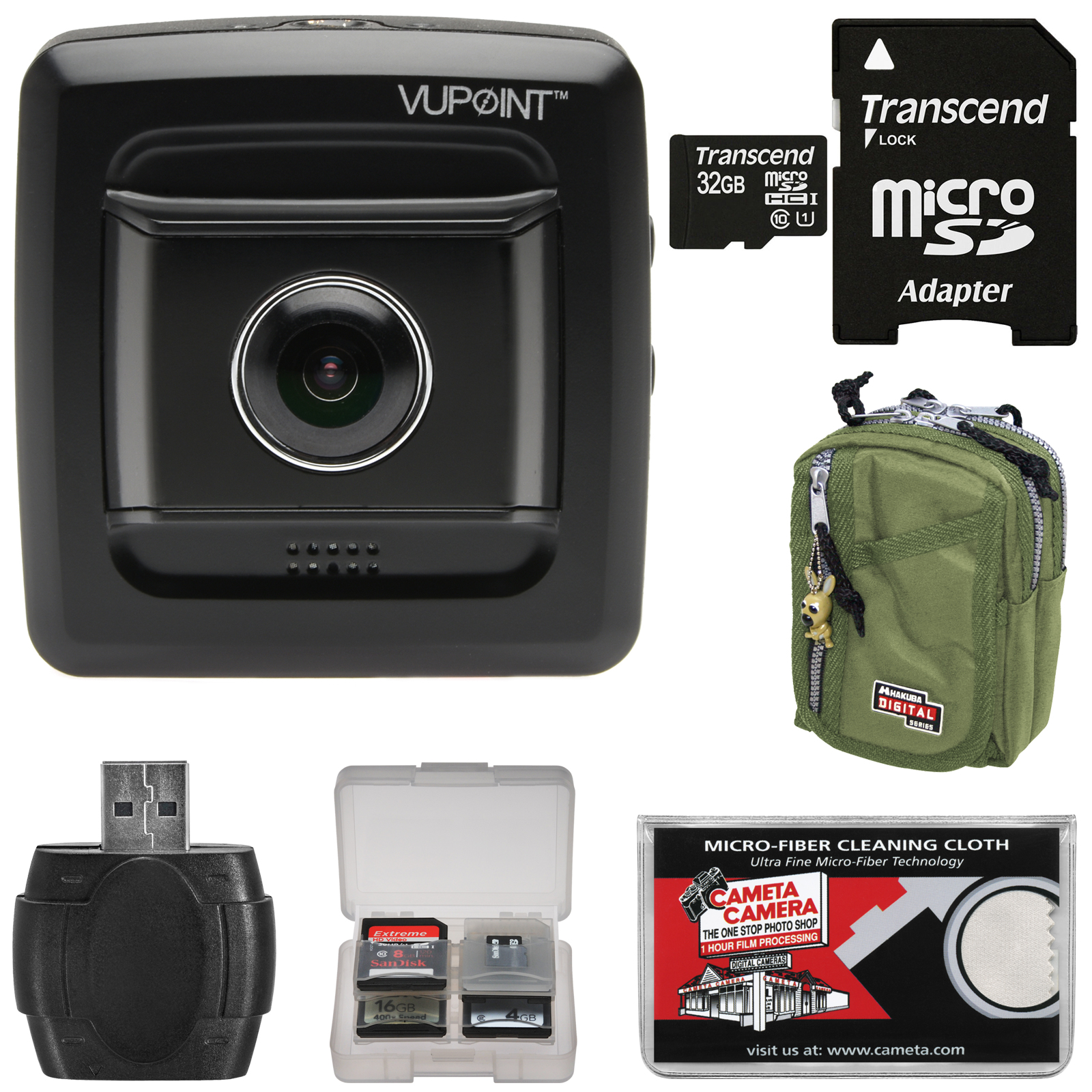 VuPoint Full HD DVR Car Dashboard Video Recorder Camera with G-Sensor & 32GB Card + Case + Kit