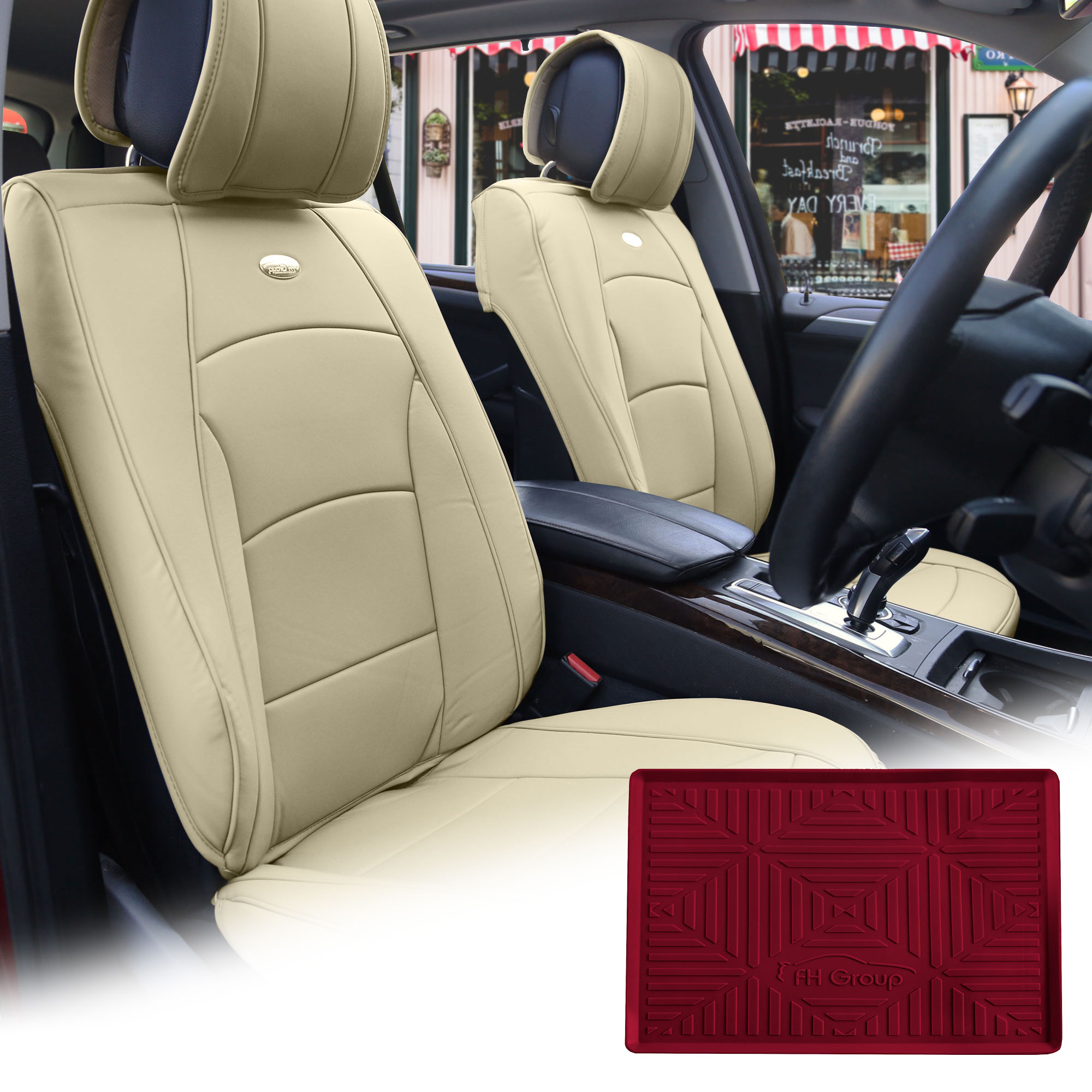 FH Group Solid Beige PU Leather Front Bucket Seat Cushion Covers for Auto Car SUV Truck Van with Burgundy Dash Mat