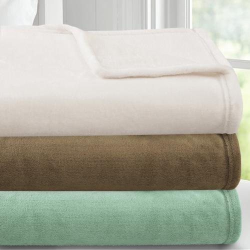 bed bath n more Luxury Double Brushed Ultra Plush Flannel Blanket