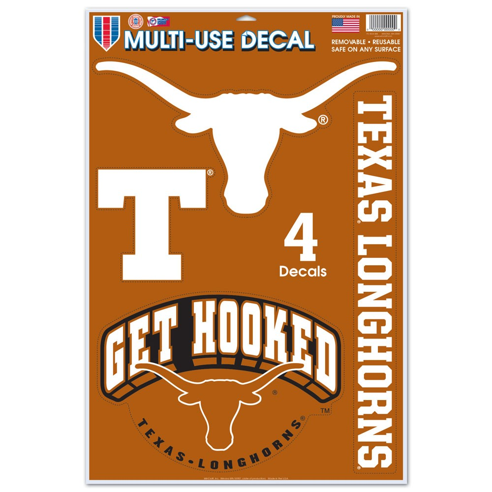 Texas Longhorns Official NCAA 11 inch  x 17 inch  MultiUse Car Decal by WinCraft