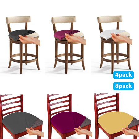 TSV 8/4PCS Stretch Dining Room Chair Seat Covers, Removable Washable Anti-Dust Dinning Polyester Chair Seat Cushion Slipcovers Protectors for Office chair, Bar stools, Patio cushions ()