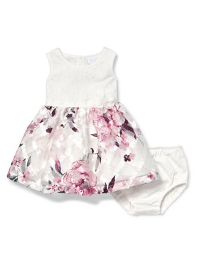The Children's Place Baby Girl Sleeveless Lace Top All Around Floral Printed Pleat Dress Bloomer 2 Piece Set
