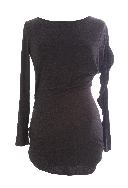9FASHION Maternity Women's Floa Blouse Small Dark Grey