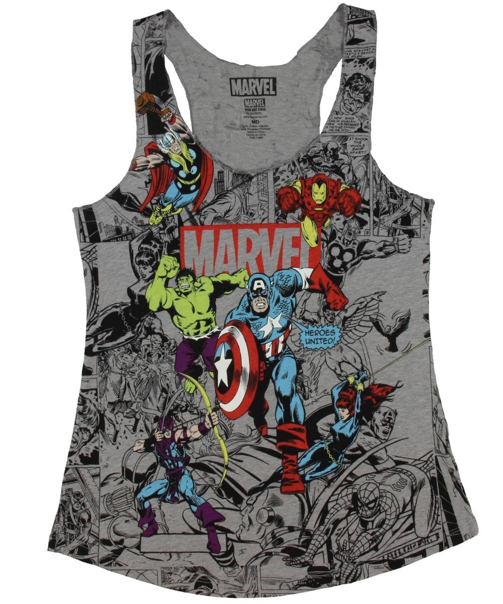 Group Comic Girls Tank Top Sleeveless Avengers Hulk Captain America Thor Iron Man Hawkeye Shirt