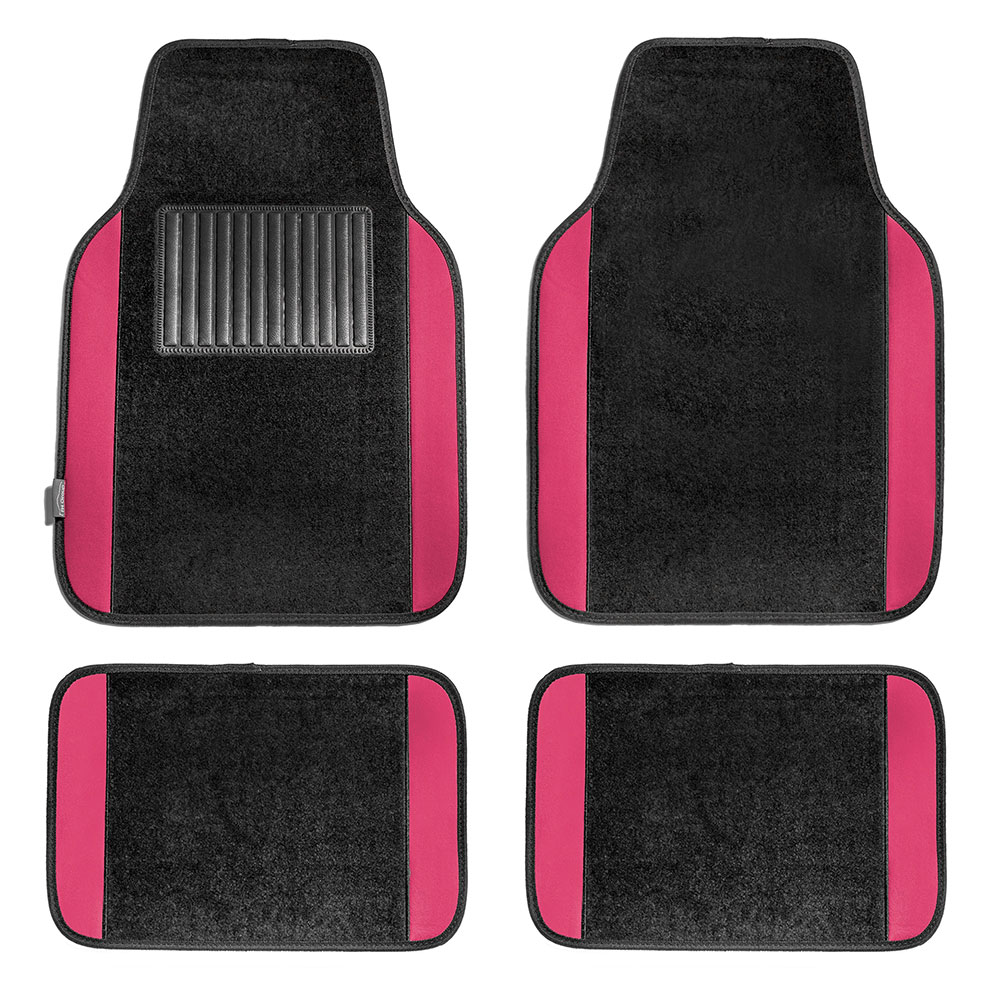 FH GROUP Full Set Premium Carpet Floor Mats, Pink