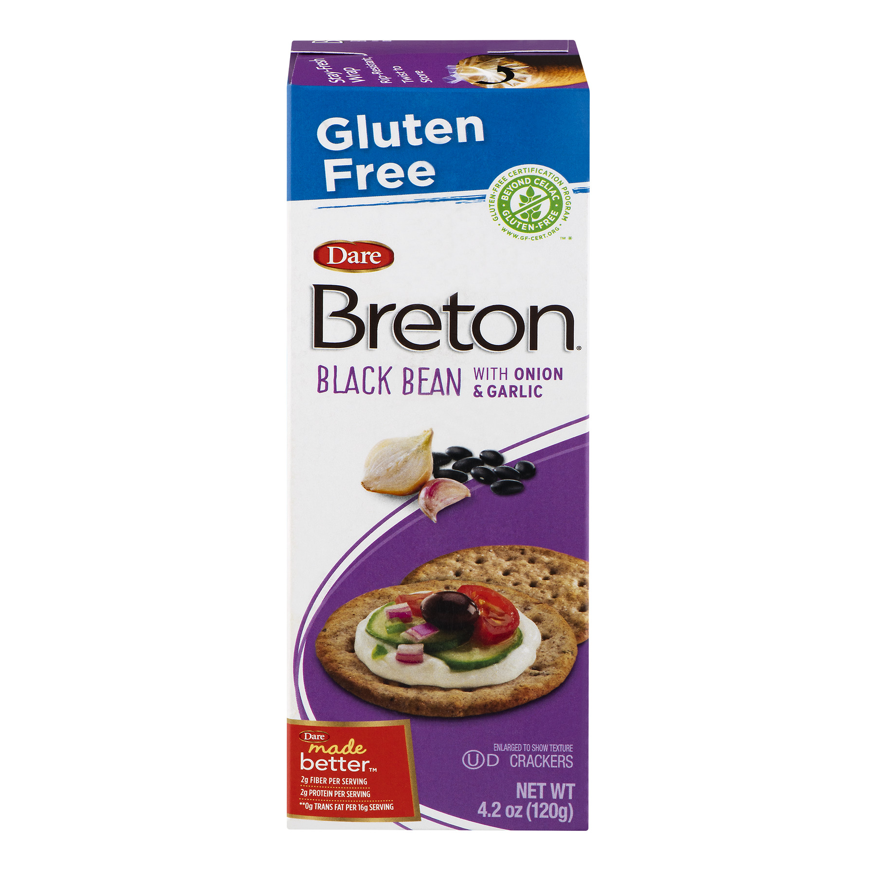 Dare Breton Crackers Black Bean With Onion & Garlic, 4.2 OZ