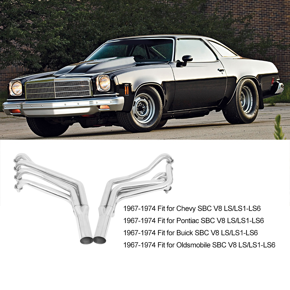 Automotive Exhaust Header Manifold Replacement Kit Fit for Oldsmobile SBC V8 LS//LS1-LS6 1967-1974 Stainless Steel Exhaust Manifold