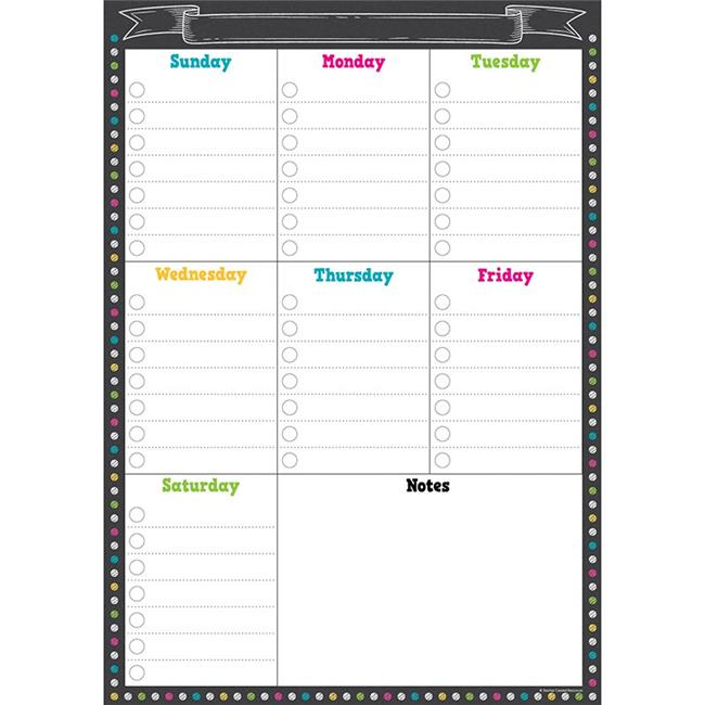 Teacher Created Resources TCR77878 12 x 17 in. Clingy Thingies Chalkboard Brights Weekly Schedule - image 1 de 1