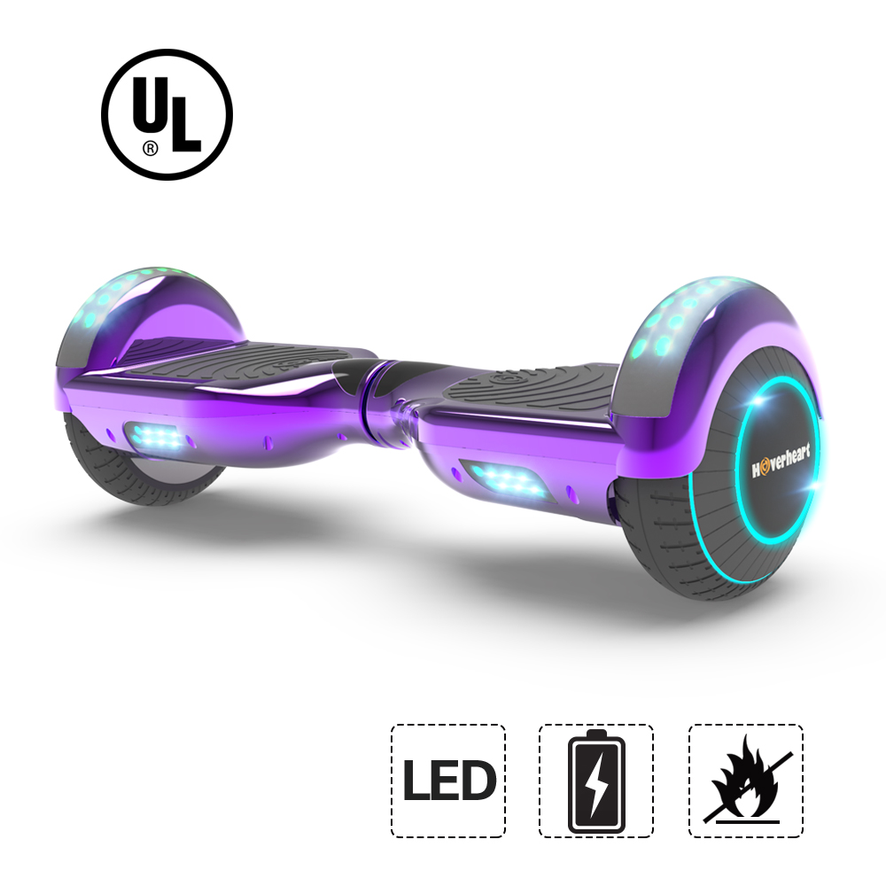 """UL2272 Certified LED Flash Wheel 6.5"""" Hoverboard Two Wheel Self Balancing Scooter  (New Chrome Purple)"""