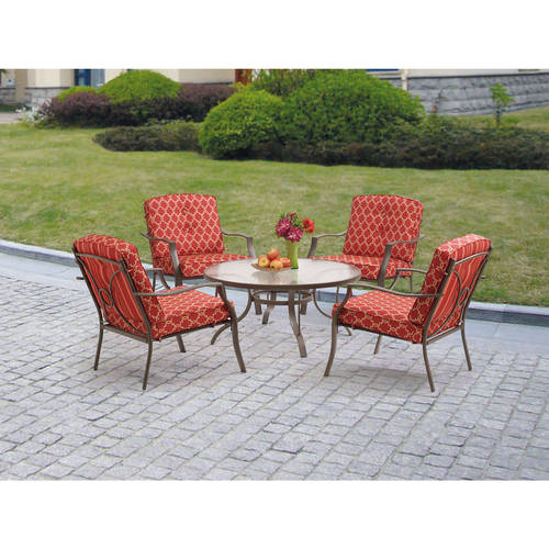 Mainstays Ashwood Heights 5 Piece Outdoor Chat Set, Red