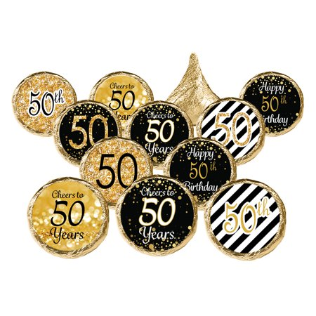 50th Birthday Party Favor Stickers, 324ct - Adult Birthday Party Supplies Black and Gold 50th Birthday Candy Decorations Favors - 324 Count Stickers