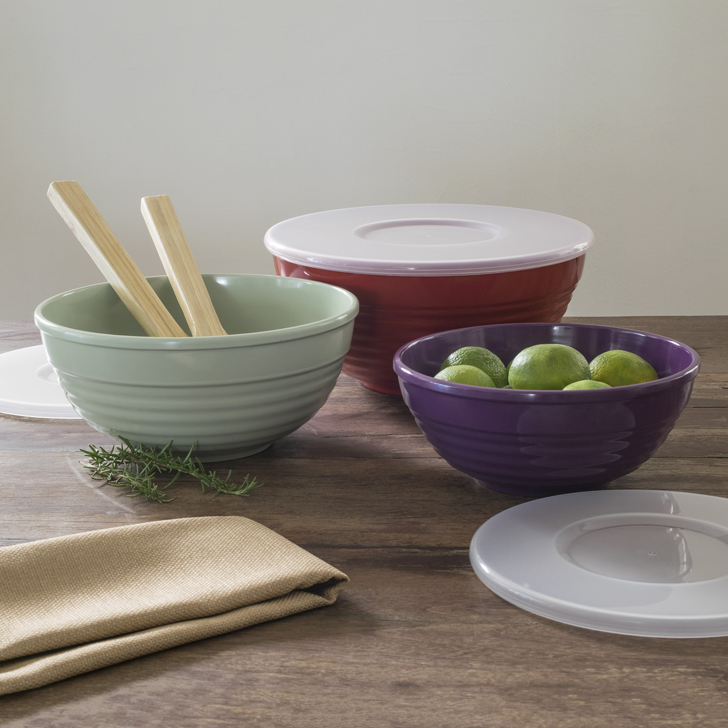 Mainstays Ribbed Serve Bowls with Lids 6 Piece Set