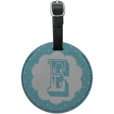 Letter E Initial Flower Blue Round Leather Luggage ID Tag Suitcase Carry-On