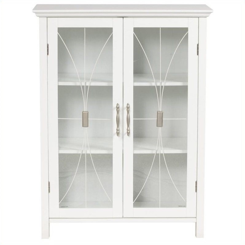Elegant Home Fashions Delaney 2-Door Floor Storage Cabinet in White