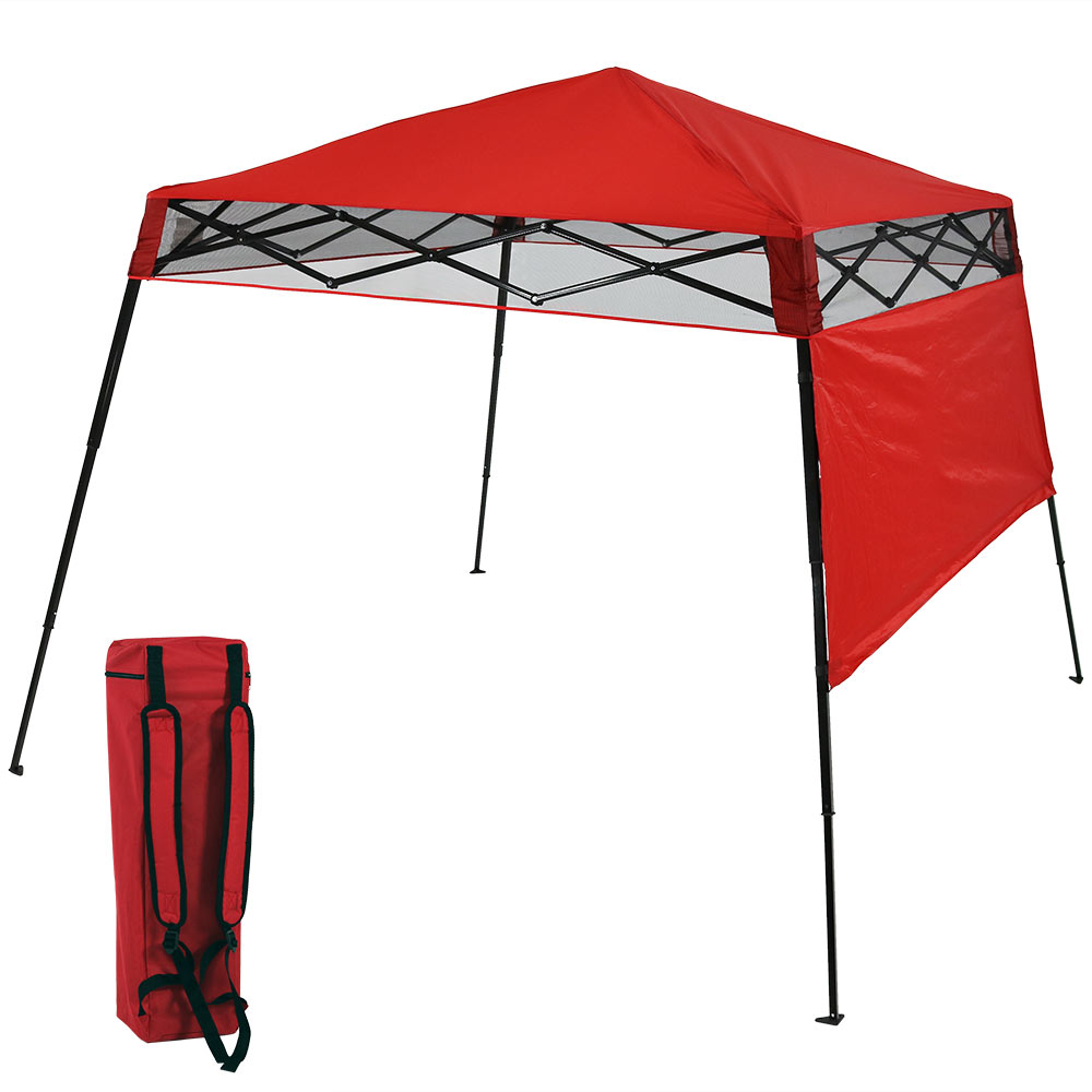 Sunnydaze Compact Quick-Up Slant Leg Instant Pop-Up Backpack Canopy, 6 x 6 Foot Top, 7.5 x 7.5 Foot Bottom, Red