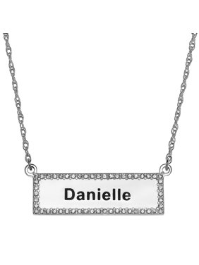 Personalized Women's Sterling Silver or Gold over Sterling CZ Bar with Engraved Name Necklace