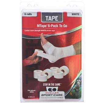 """Mueller MTape Athletic Tape, White, 6 Pack-to-go, 1.5"""" x 10 yd each"""