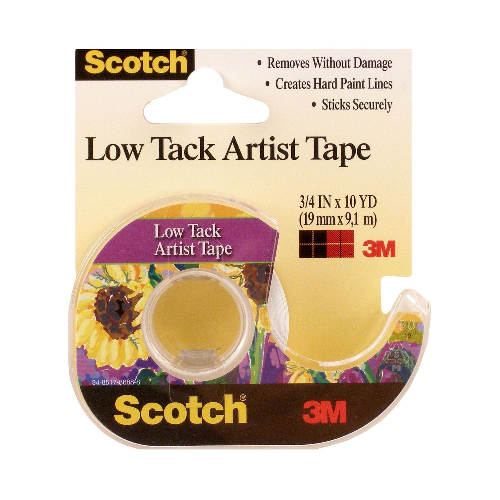 Scotch Low Tack Artist Tape 3/4 in. x 10 yd. (pack of 6)