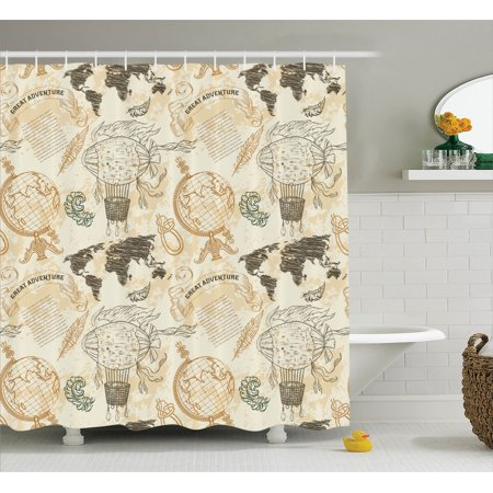 Wanderlust decor shower curtain set pattern with vintage globe wanderlust decor shower curtain set pattern with vintage globe world map airship rope knots ribbon gumiabroncs Image collections