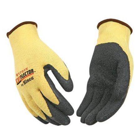 Kevlar Knit Shell Glove - KINCO 1791K-L Men's Cut Resistant Latex Palm Gloves, Level 3, Kevlar Knit Shell, Large, Yellow