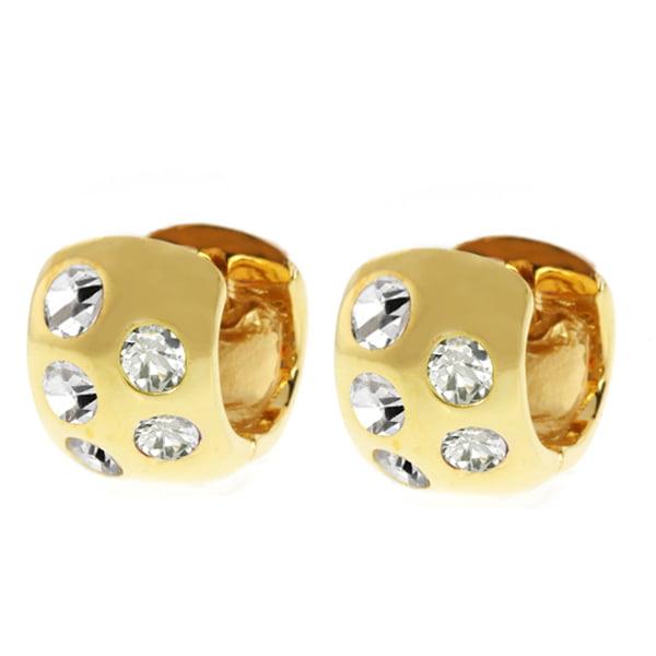 Gold Plated Huggie Hoop Earrings with Cubic Zirconia (10MM Length x 7MM Width)