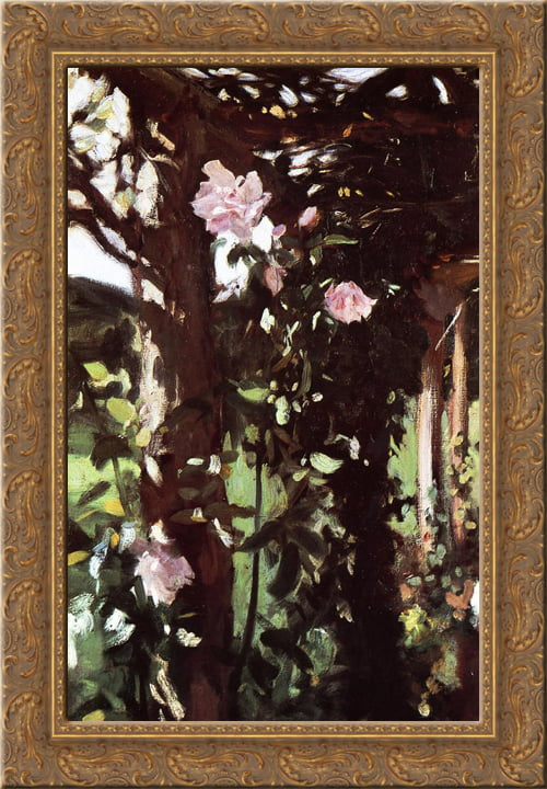 A Rose Trellis (Roses at Oxfordshire) 24x16 Gold Ornate Wood Framed Canvas Art by John Singer Sargent by FrameToWall