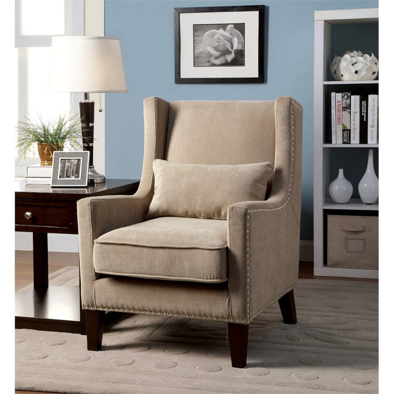 Furniture of America Franklin Wingback Accent Chair in Ivory