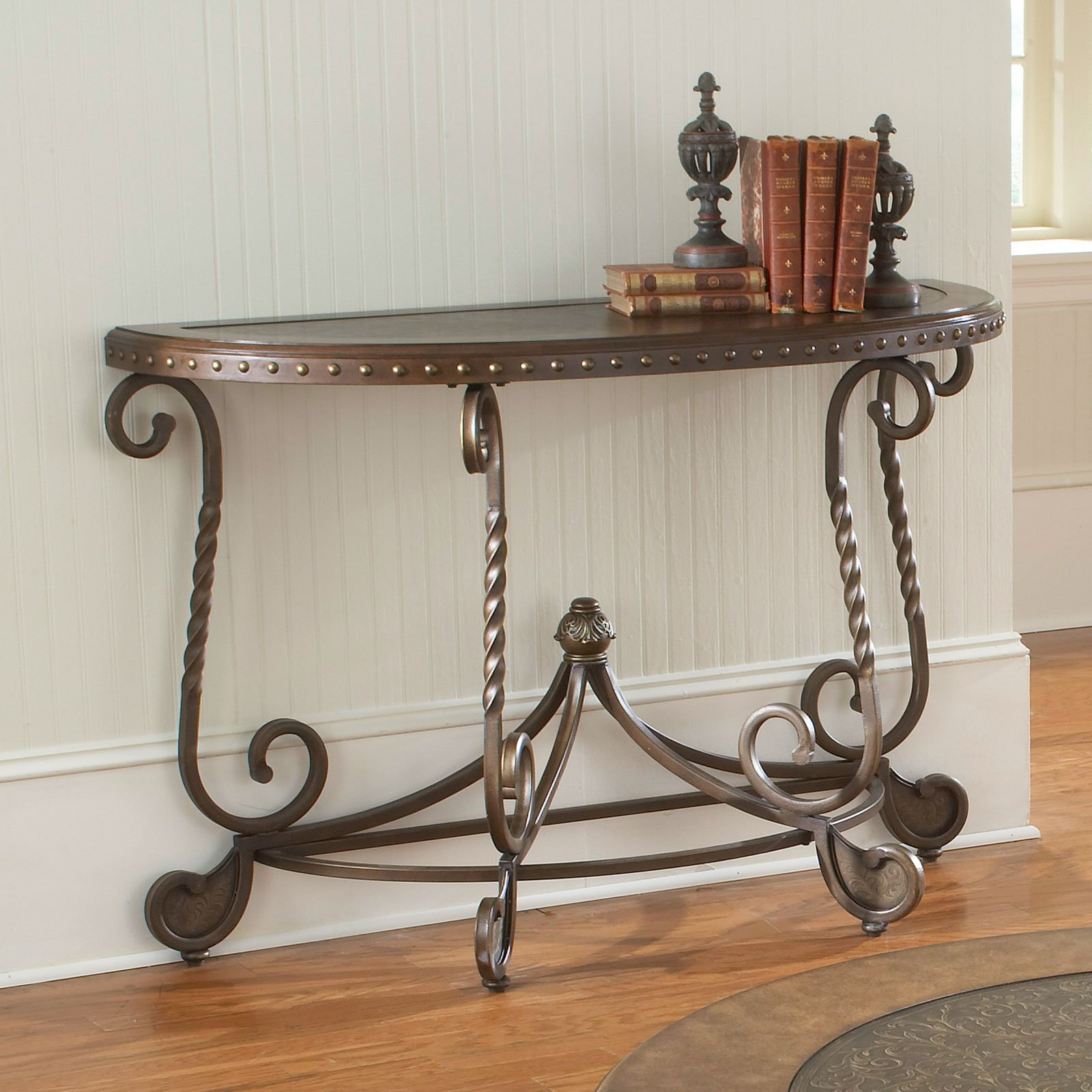 Bernards Metal Etched Round Console Table with Nailheads