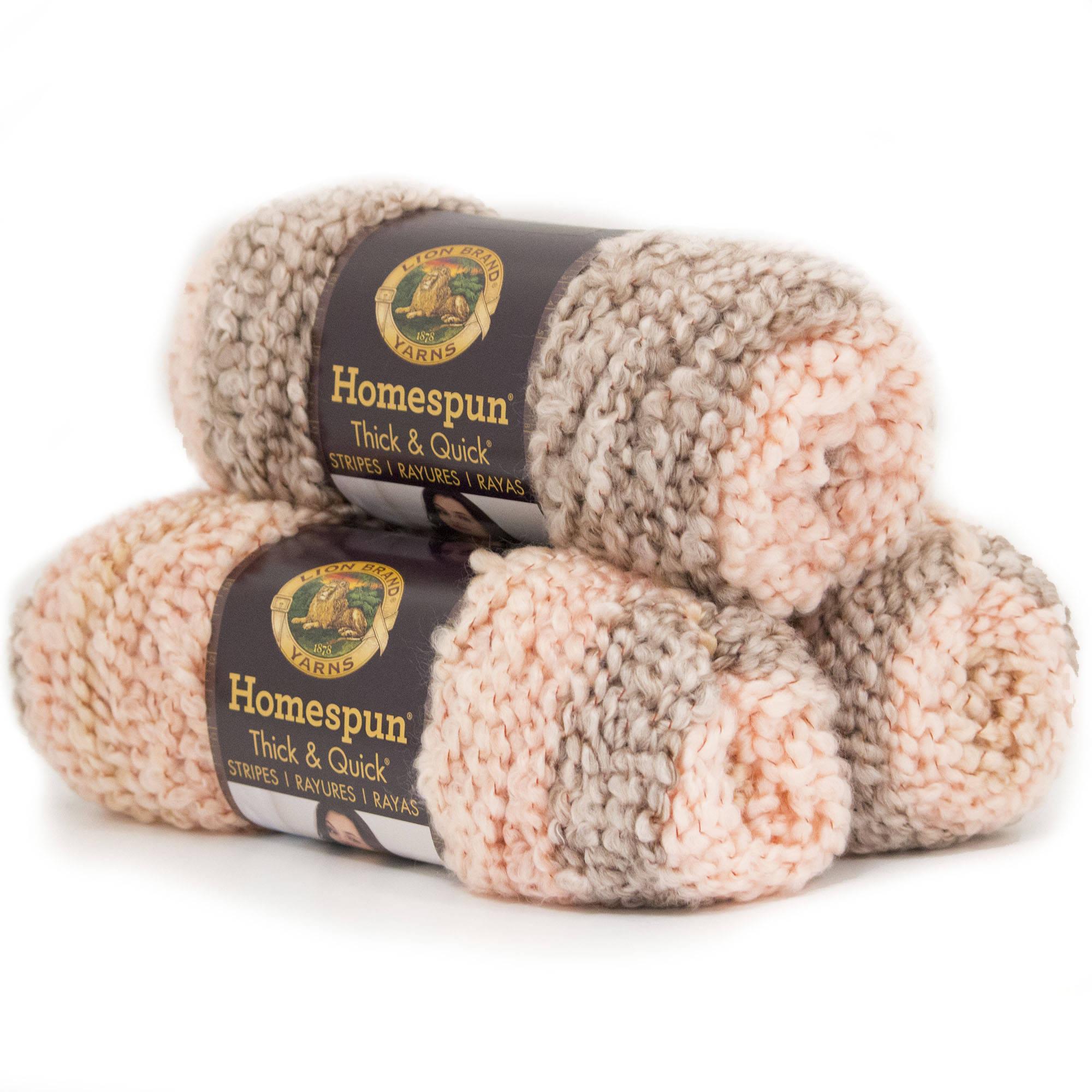 Lion Brand Yarn Homespun Thick and Quick Acrylic Fashion Yarn, 3 Pack