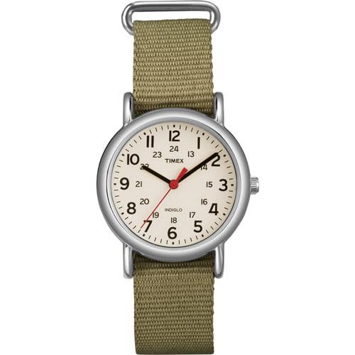 Timex Women's Weekender Watch, Olive Slip-Thru Nylon Strap