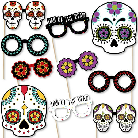 Day of The Dead Glasses and Masks - Paper Card Stock Halloween Sugar Skull Party Photo Booth Props Kit - 10 Count - History Of Halloween Day Of The Dead