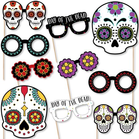 Day of The Dead Glasses and Masks - Paper Card Stock Halloween Sugar Skull Party Photo Booth Props Kit - 10 Count](Halloween Part 10)
