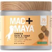 Mac+Maya Omega Skin & Coat with Salmon Oil for Dogs, 70 Soft Chews