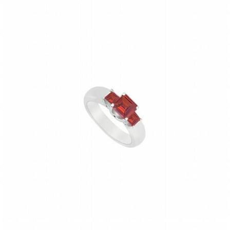 UBUJ7653W14R Three Stone Created Ruby Ring in 14K White Gold - 0.75 CT TGW