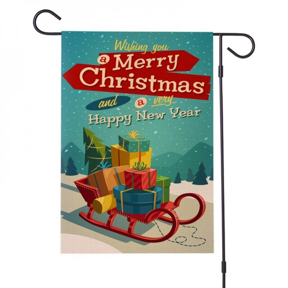 Welcome Winter Christmas Garden Flag Festival Ornament Snowman Santa Clause
