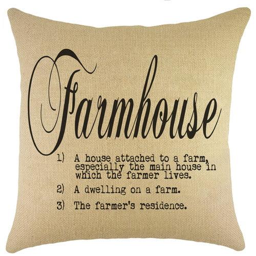 TheWatsonShop Farmhouse Burlap Throw Pillow