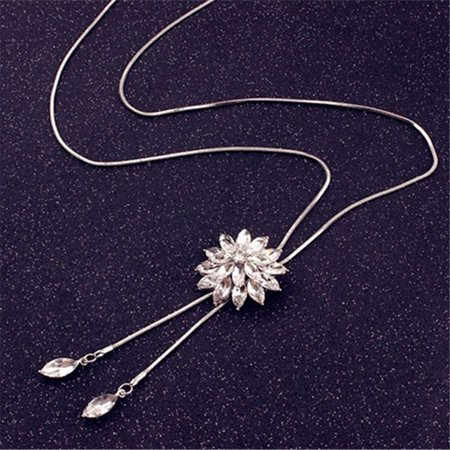 Fancyleo 2 Pcs Crystal Tassel Snowflake Pendant Necklace Long Sweater Chain Necklace Jewelry Women Girls