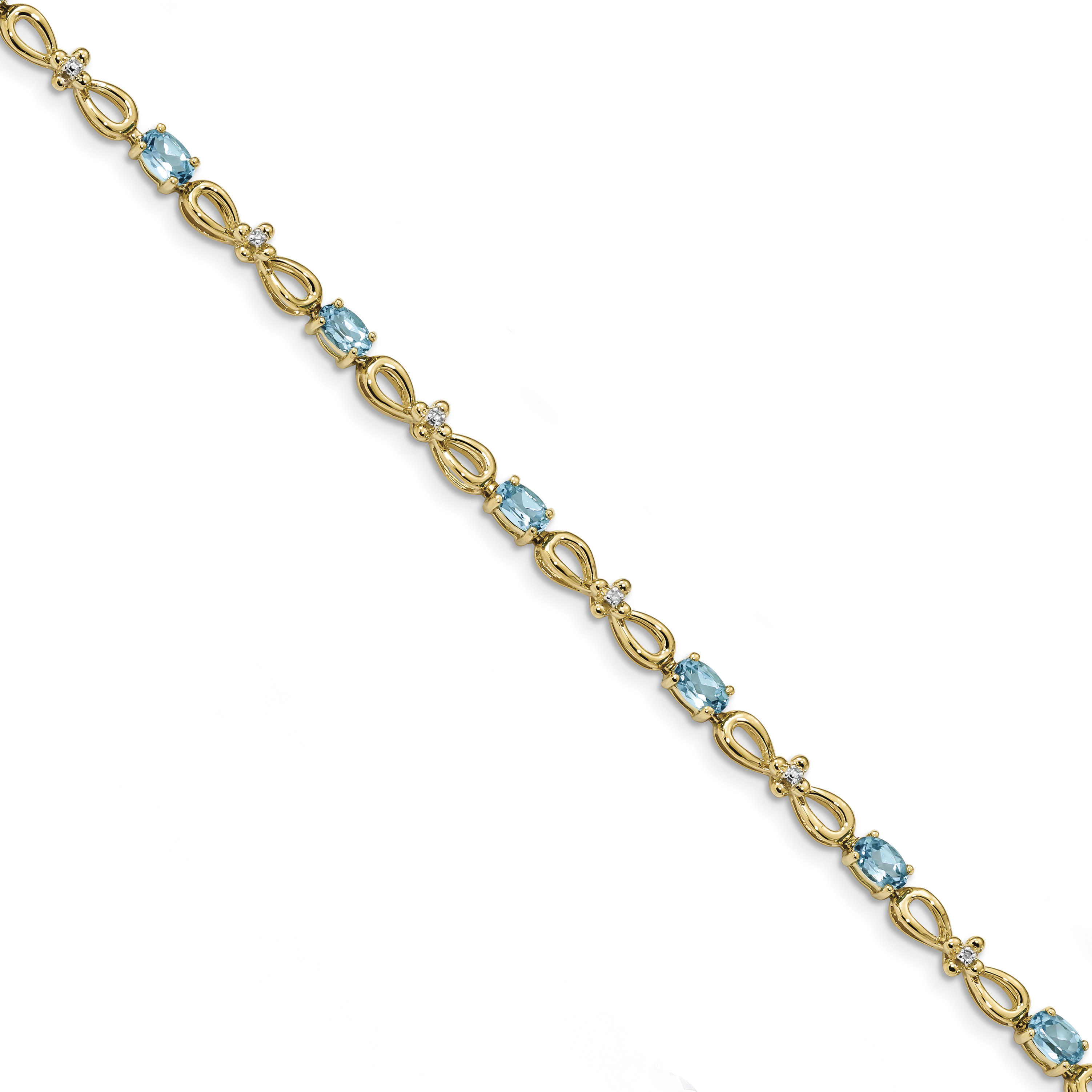14k Polished 0.01ct. Diamond & 3ct Blue Topaz 7.5in Bracelet by Saris and Things QG