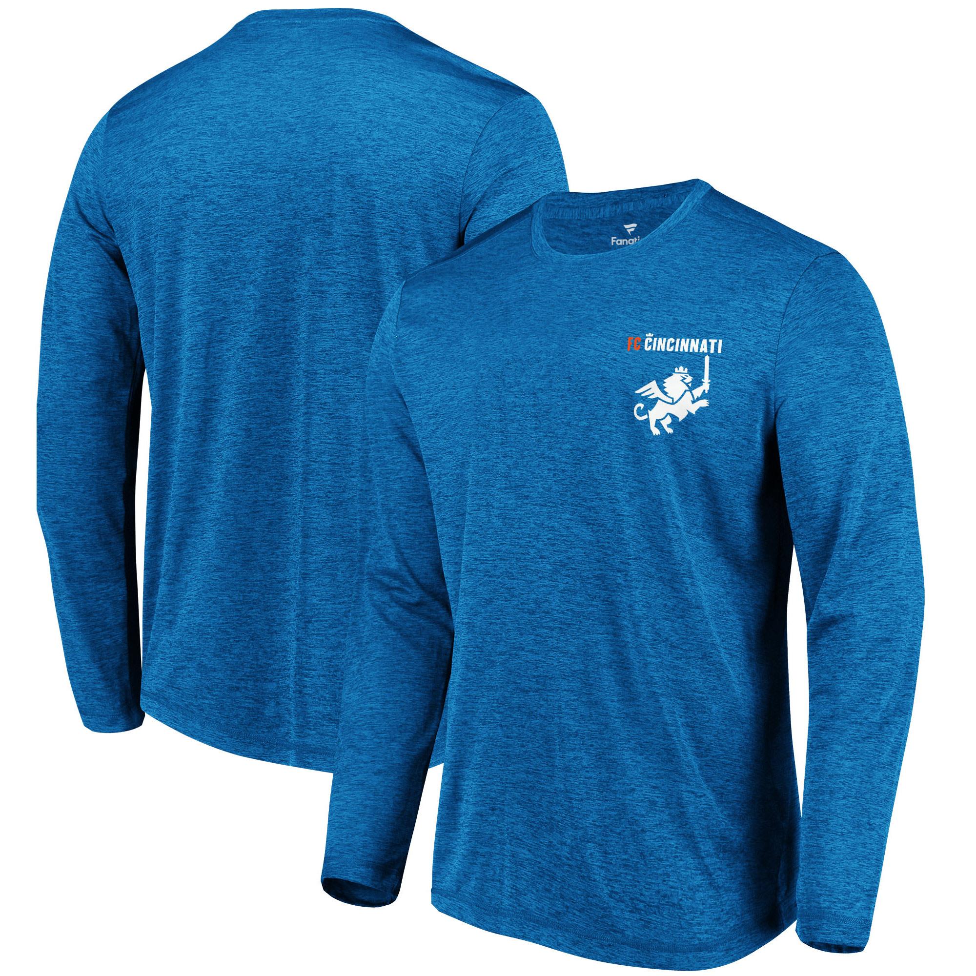 FC Cincinnati Fanatics Branded Logo Wordmark Long Sleeve T-Shirt - Heather Royal