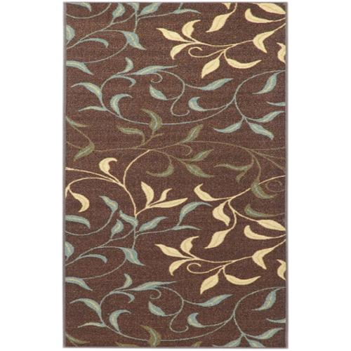 "Ottomanson Non-Skid Ottohome Brown Floral Leafs Area Rug (5' x 6'6"") - Brown/Ivory - 5' x 6'6"