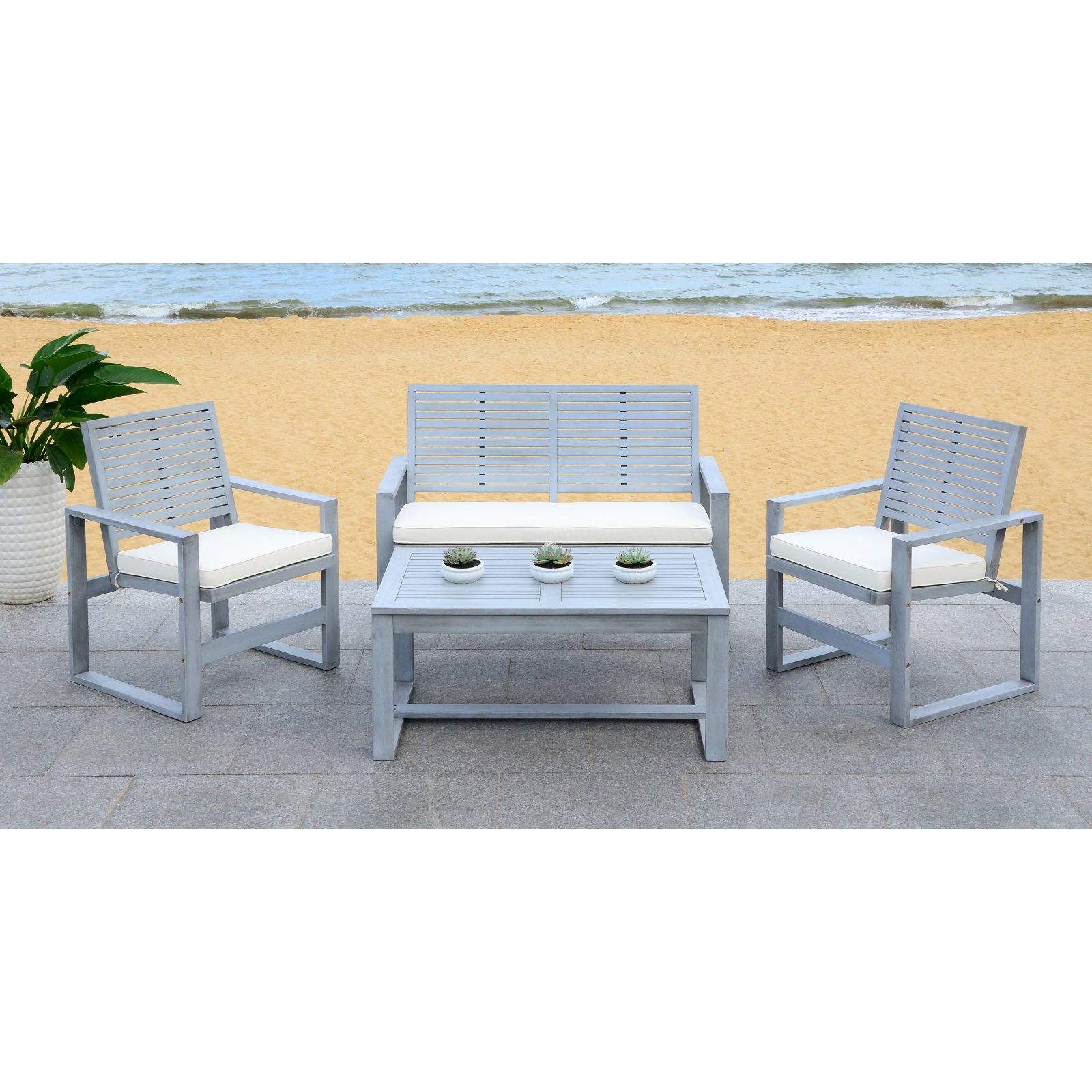 Safavieh Ozark Indoor/Outdoor Contemporary 4 Piece Living Set