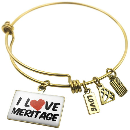 Expandable Wire Bangle Bracelet I Love Meritage Wine   Neonblond