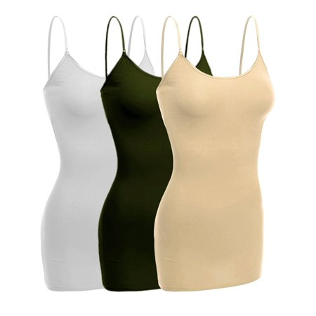 fe70b00d360ac TheLovely - Women   Juniors Basic Layering Built in Bra Spaghetti Strap  Long Cami Top Tank - Walmart.com