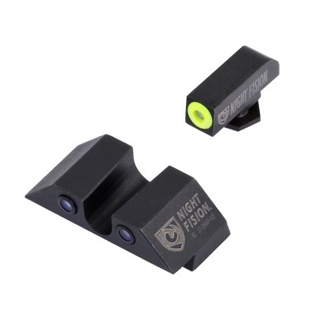 Night Fision GLK00107YGZG Night Sight Set Square Front/U-Notch Rear Glock 17/17L/19/22-28/31-35/37-39 Tritium Green Tritium w/Yellow Outline Tritium Green Tritium