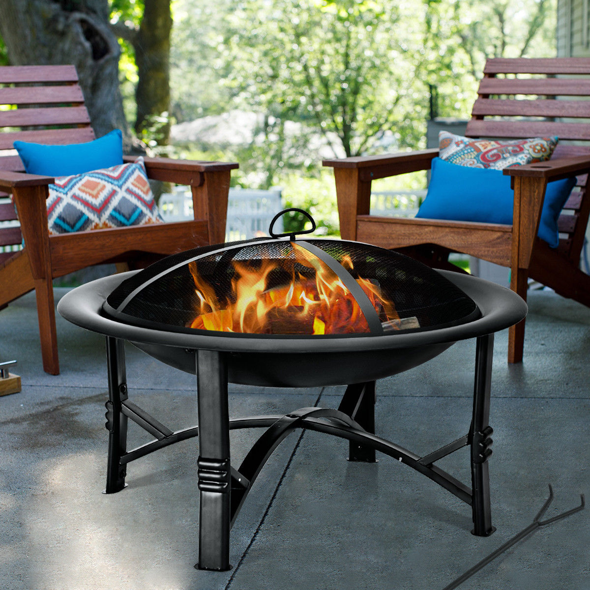 """30"""" Outdoor Fire Pit BBQ Portable Camping Firepit Heater Patio Garden Grill - image 2 of 10"""