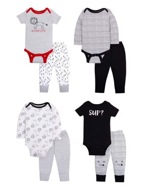 Little Star Organic Star-Pack Mix 'n Match Outfits, 8pc Gift Bag Set (Baby Boys)