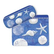 Blue Water White Shells Starfish Sand Dollar Eye Glasses Case and Lens Cloth