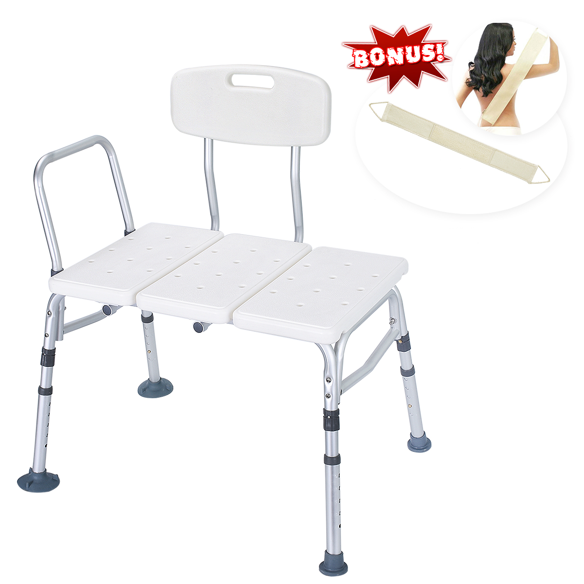 Health Line 400 lbs Transfer Bench, Adjustable Bath Shower Chair Bathtub Bench Stool Seat, with Reversible Back and Free Back Scrubber